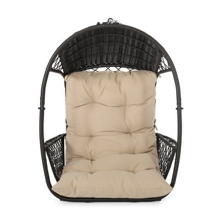 Link to Malia Cushioned Wicker Hanging Chair by Christopher Knight Home Similar Items in Patio Furniture