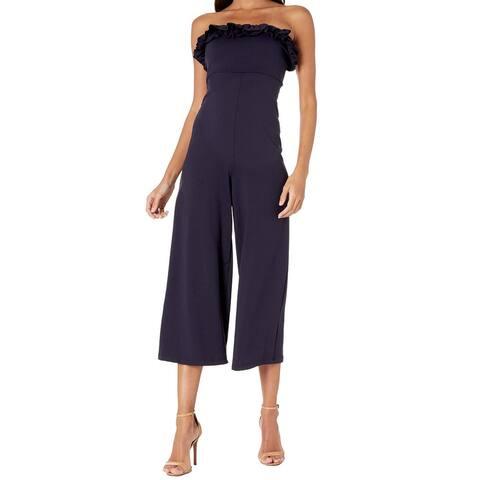 Susana Monaco Women's Ruffle Edge Jumper Blue Size Large L Jumpsuit
