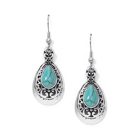 Silver Plated Simulated Turquoise Teardrop Earrings