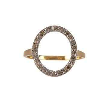 "14K Gold ""O"" Shape Diamond Ring"