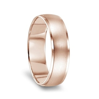 14k Rose Gold Brushed Center Men S Wedding Ring With Polished Beveled Edges 8mm