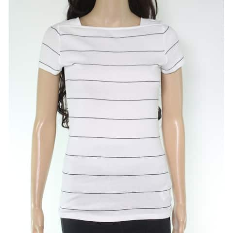 Lauren by Ralph Lauren Womens Top White Size Large L Knit Striped