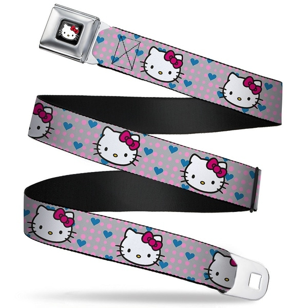 Hello Kitty W Red Bow Full Color Black Hello Kitty Close Up W Dots & Hearts Seatbelt Belt