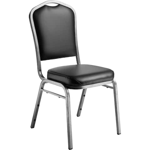 (4 Pack) NPS 9300 Series Deluxe Vinyl Upholstered Stack Chair, Panther Black Seat/Silvervein Frame