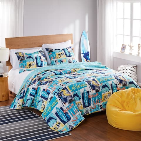 Greenland Home Fashions Wave Rider Quilt and Pillow Sham Set