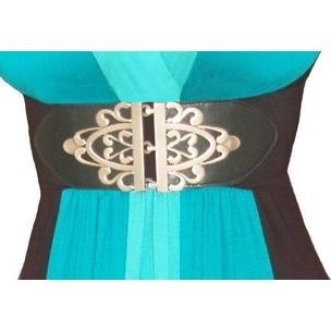 Funfash Plus Size Gothic Cinch Belt Brushed Silver Buckle Stretch Elastic Belt