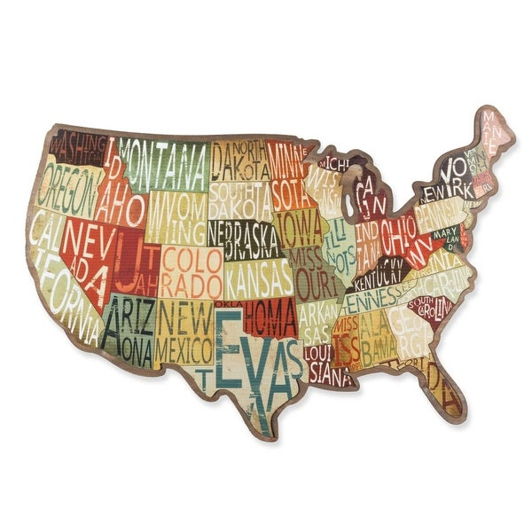 United States Map Decor.Shop 28 5 Orange And Brown United States Map With State Names Wall