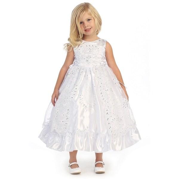Angels Garment Little Girls White Satin Organza Cape Baptism Dress
