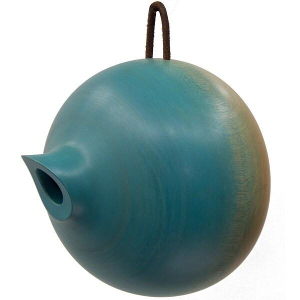 """8"""" Blue Hand-Made Mango Wood Hanging Garden Birdhouse - N/A"""