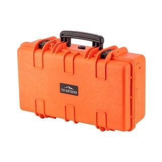Monoprice Weatherproof Hard Case - 22in x 14in x 8in, Orange with Customizable Foam, Shockproof, IP67