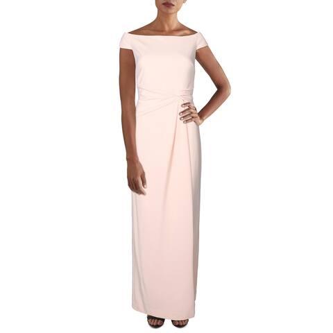Lauren Ralph Lauren Womens Saran Evening Dress Faux Wrap Sleeveless - Pink Macaroon
