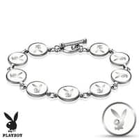 Gemmed Eye Playboy Bunny Round Logo Steel Bracelet (10 mm) - 6 in