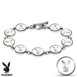 Gemmed Eye Playboy Bunny Round Logo Steel Bracelet (10 mm) - 6 in