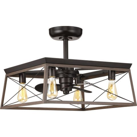 Briarwood Collection 22-Inch Antique Bronze 3-Blade AC Motor Farmhouse Ceiling Fan - 22 in x 22 in x 17 in