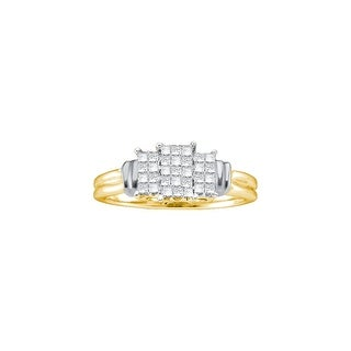 1/4Ctw Diamond Ladies Invisible Ring Yellow-Gold 14K