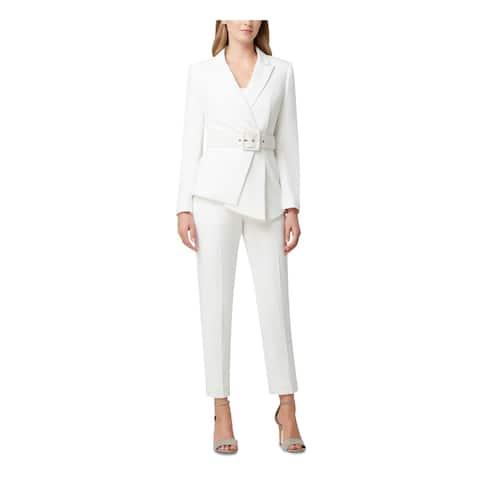 TAHARI Ivory Blazer Straight leg Pant Suit Size 8