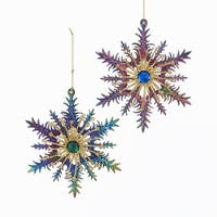"Club Pack of 12 Peacock Color Glittered Snowflake Christmas Hanging Ornaments 5.5"" - BLue"