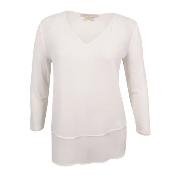 9cc2aeac9a50 Shop MICHAEL Michael Kors Women s Layered-Look V-Neck Top (Cream