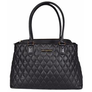 "Vera Bradley Black Quilted Leather Center Zip Emma Tote Purse Handbag - 17"" x 11"" x 6"""