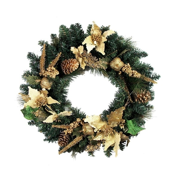 "24"" Pre-Decorated Gold Poinsettia & Pine Cone Artificial Christmas Wreath -Unlit - green"