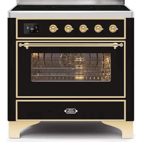 """Ilve UMI09NS3BKG 36"""" Majestic II Series Induction Range with 5 Elements, 3.5 cu. ft. Oven Capacity, Brass Trim, in Glossy Black"""