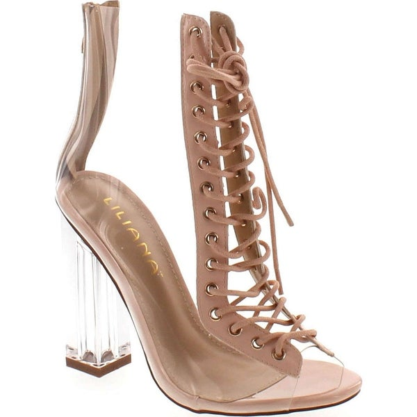 Clear Translucent Transparent Lace Up Peep Toe Ankle Bootie W Perspex Block Heel