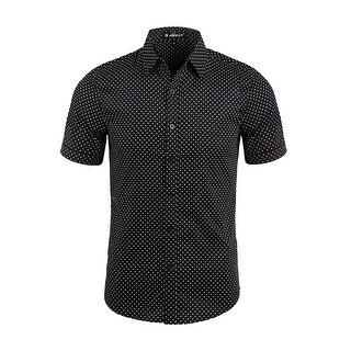 Men Dots Point Collar Short Sleeves Button Down Shirt