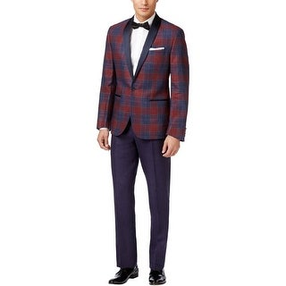 Ryan Seacrest Slim Fit Red and Purple Plaid Linen Tuxedo 36 Short Pants 29W