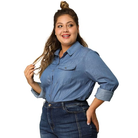 Women's Plus Size Long Sleeve Chest Pocket Denim Chambray Shirt - Blue