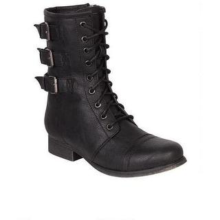 Madden Girl Women's Ginghamm Combat Boot Military Style
