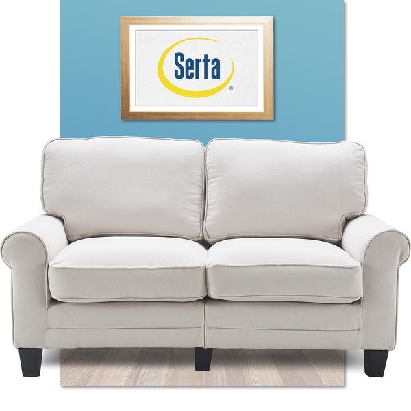 """Serta Copenhagen 61"""" Loveseat for Two People, Pillowed Back Cushions and Rounded Arms, Durable Modern Upholstered Fabric. Opens flyout."""