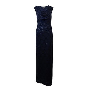 Connected Women's Sleeveless Sequined Lace Cowl Neck Dress