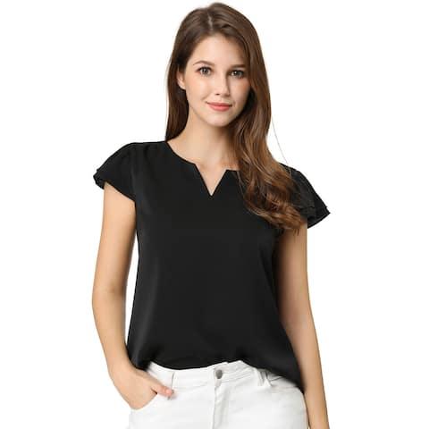 Women's Work Business Casual Plain Cap Sleeve Blouse Top