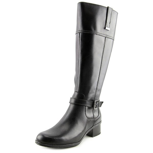 Bandolino Carllow Wide Calf Women Round Toe Leather Black Knee High Boot