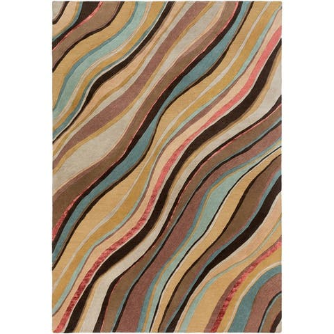 The Curated Nomad Pinos Hand Tufted Bohemian & Eclectic Stripe Area Rug