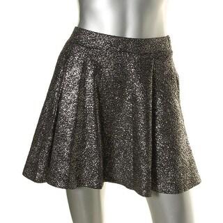 Aqua Womens Shimmer Pull On Flare Skirt