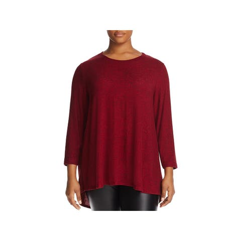 Nally & Millie Womens Plus Tunic Sweater Pleated 3/4 Sleeves