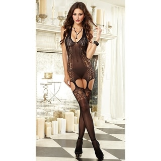 Victorian Lace Print Halter Bodystocking, Sexy Low Back Bodystocking With Garters