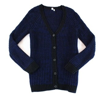 SI-IAE NEW Blue Black Mens Size Medium M Cardigan Wool Knit Sweater