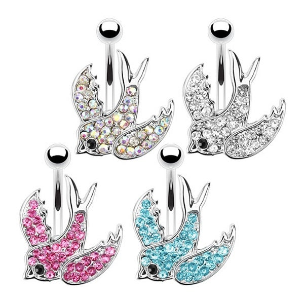 Swallow with Paved Gems 316L Surgical Steel Navel Belly Button Ring (Sold Ind.)