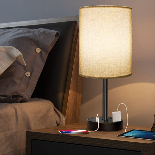 USB Table Lamp with Shade for Bedroom Living Room - Grey - M. Opens flyout.