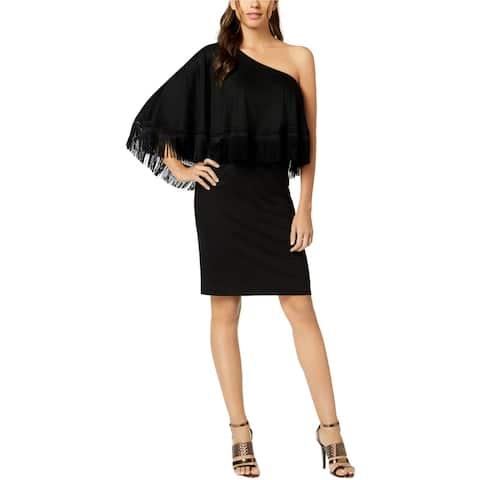 Trina Turk Womens Eastside Fringe One Shoulder Dress