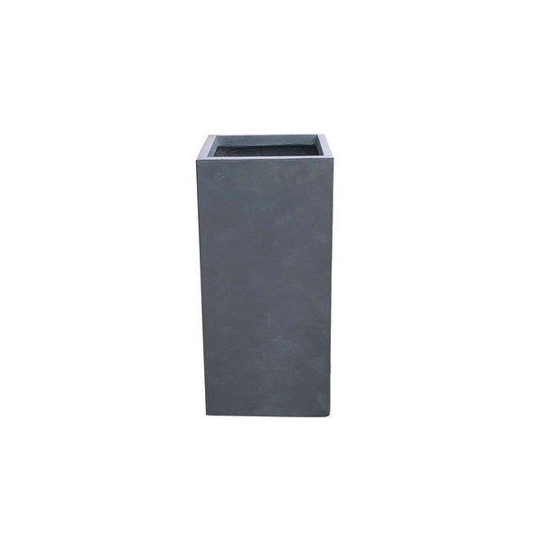 Kante Lightweight Concrete Modern Rectangle Outdoor Planter, 28 Inch Tall, Charcoal. Opens flyout.