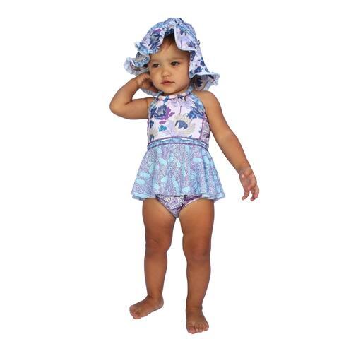 Azul Baby Girls Purple Reign Floral Print Crop Tankini 2 Pc Swimsuit