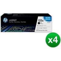HP 125A Black Original LaserJet Toner Dual Cartridge (CB540AD)(4-Pack)