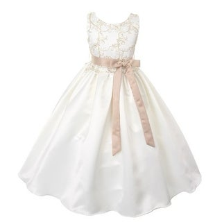 Good Girl Little Girls Off-White Lace Overlay Satin Flower Girl Dress