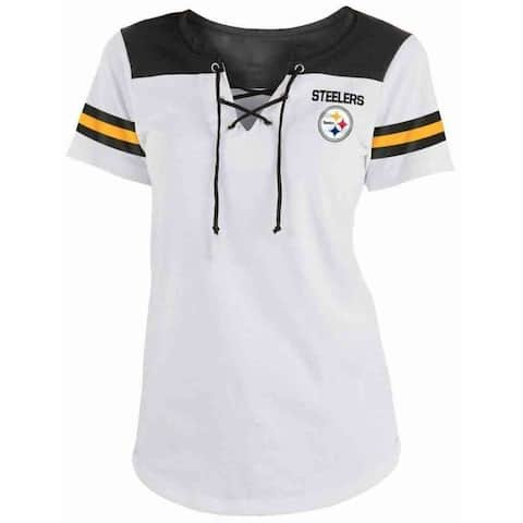 New Era Womens NFL Pittsburgh Steelers Lace-Up Tee T-Shirt Stripe Sleeve C40061L