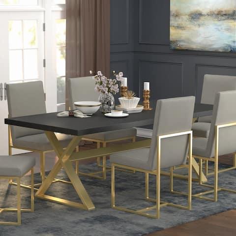 Strick & Bolton Edmiston Dark Walnut/ Aged Gold Trestle Dining Table