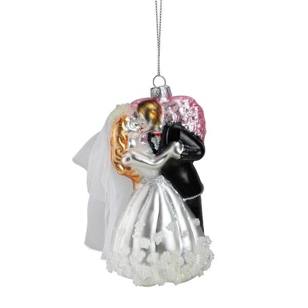 "5.25"" Bride and Groom Glass Wedding Christmas Ornament"