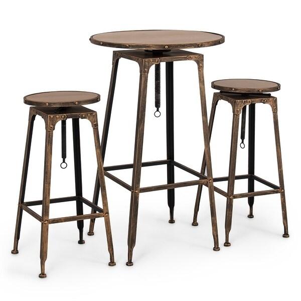 shop belleze 3pc adjustable pub table and stools vintage antique